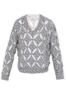 Burberry Monogram-print cut-out silk sweater