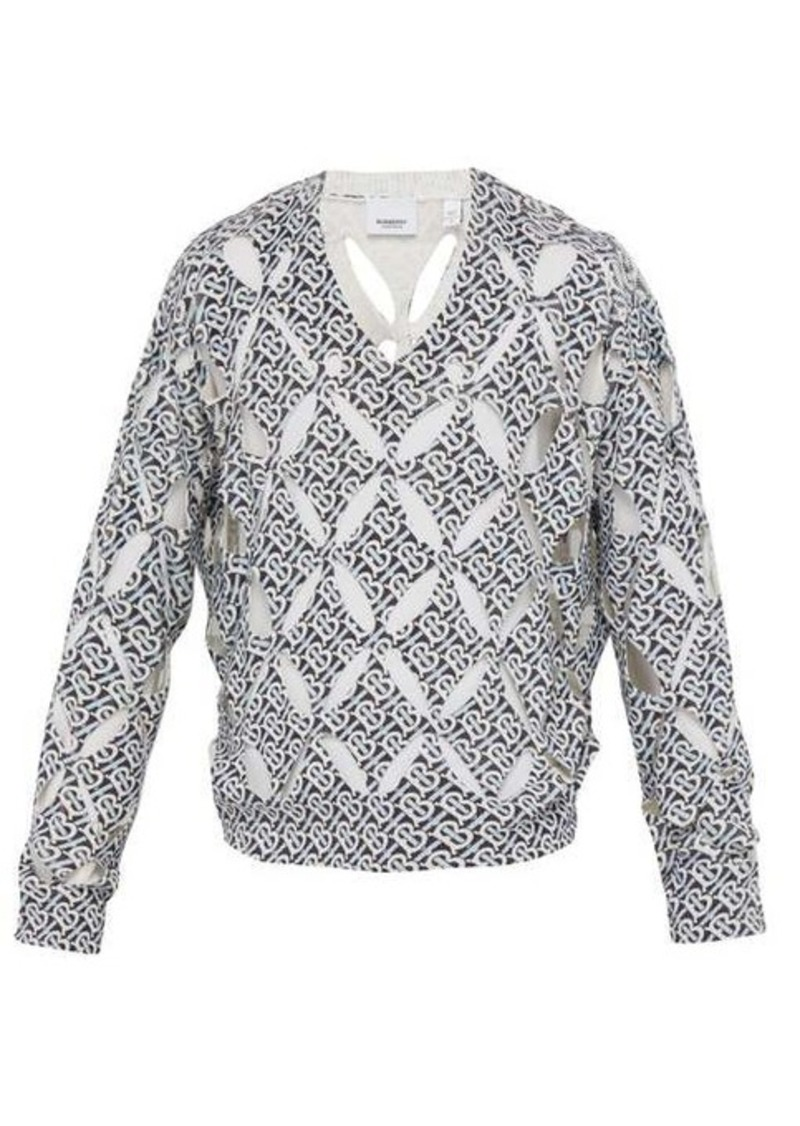 Burberry Monogram-print cut-out silk sweater