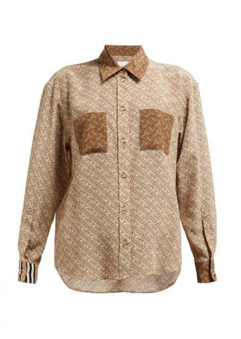 Burberry Monogram-print silk-georgette blouse