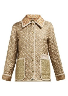 Burberry Monogram-print single-breasted quilted silk jacket