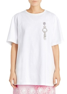 Burberry Optic White Brooch Longline Cotton T-Shirt