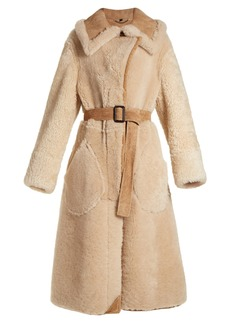 Burberry Oversized-collar belted shearling coat