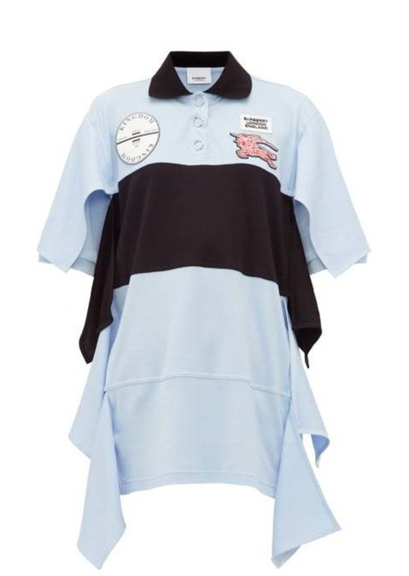 Burberry Oversized draped cotton-jersey polo shirt dress