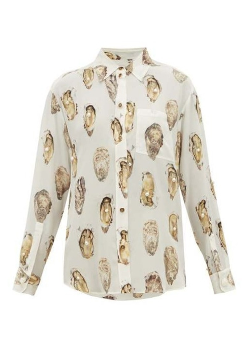 Burberry Oyster-print pearl-embroidered silk blouse