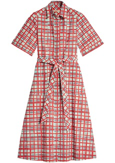 Burberry Painted Check Cotton Shirt Dress - Red