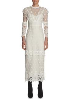 Burberry Paneled Lace Long-Sleeve Dress