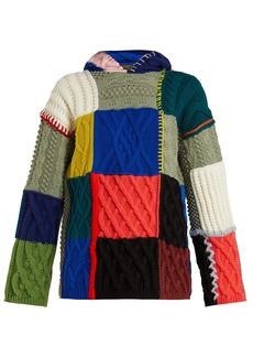Burberry Patchwork wool-blend hooded sweater