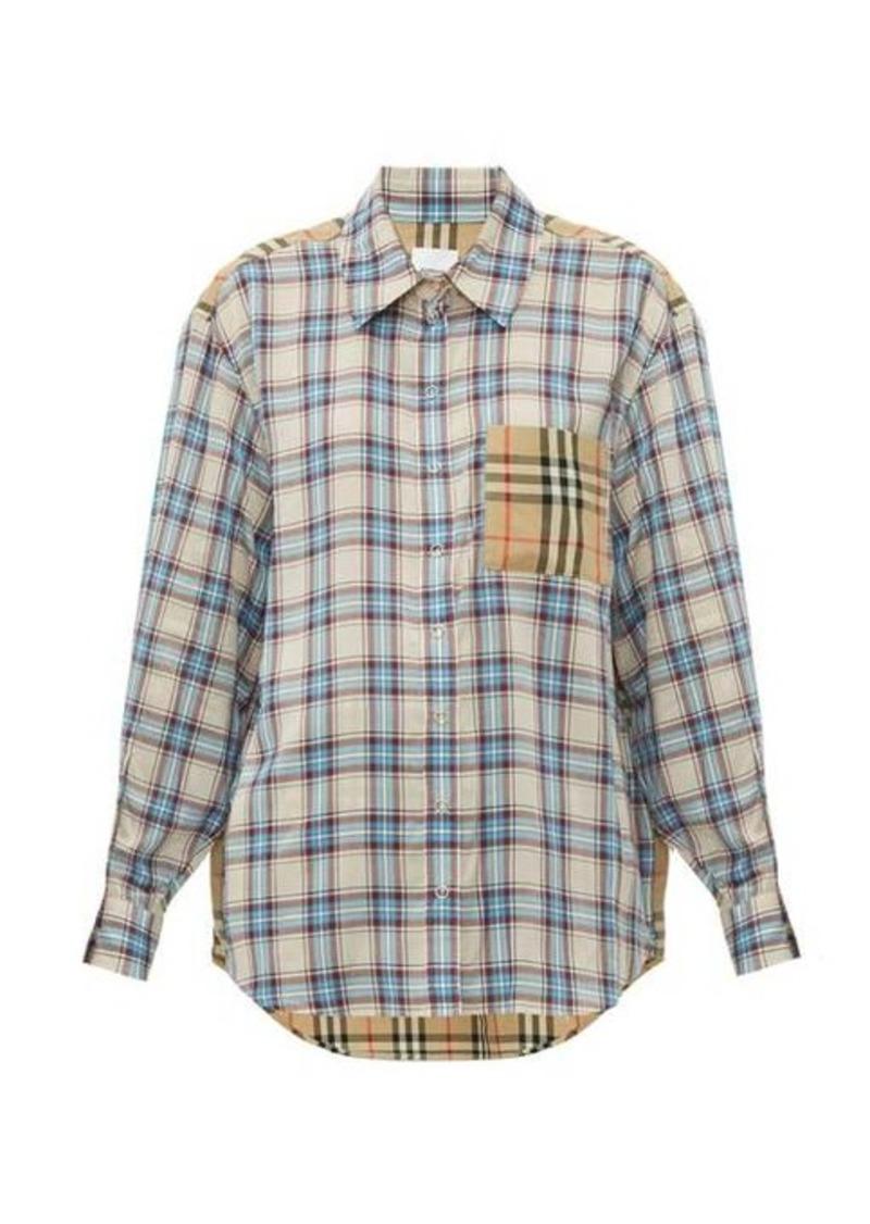 Burberry Payton contrast-panel Vintage-checked shirt