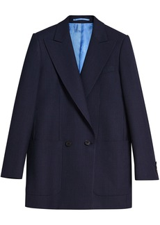 Burberry Pin Dot Wool Double-breasted Jacket - Blue