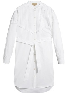 Burberry pintuck detail stretch cotton shirt dress - White