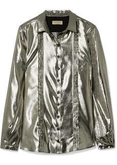 Burberry Pintucked silk-blend lamé shirt