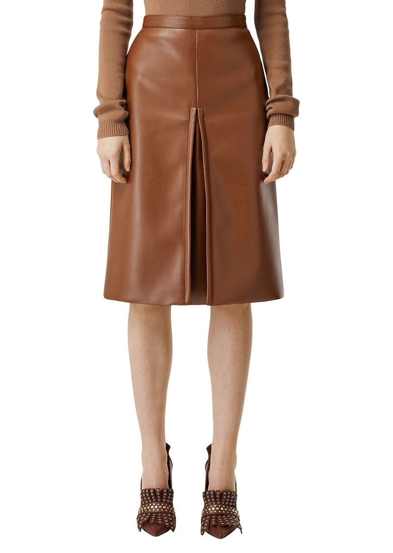 Burberry Pleated Faux-Leather Skirt