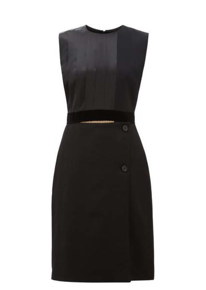 Burberry Pleated silk-satin and wool shift dress