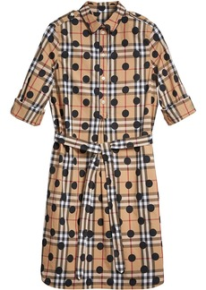Burberry polka-dot check print tunic dress - Nude & Neutrals