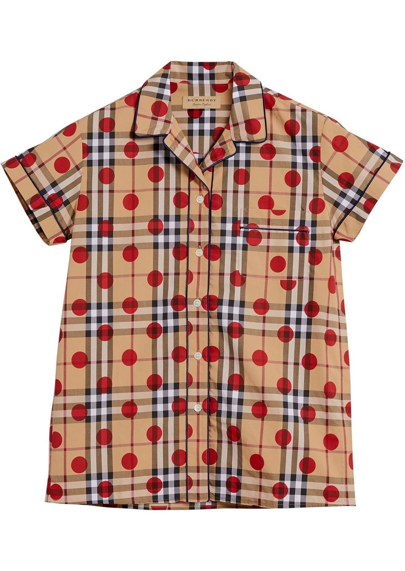 Burberry polka dot check shirt