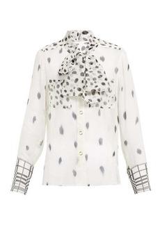 Burberry Pussy-bow dalmatian-print silk blouse