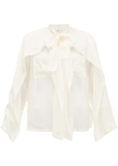 Burberry Pussy-bow panelled silk-chiffon blouse