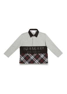 Burberry Quentin Long-Sleeve Rugby Polo w/ Check & Logo Panels  Size 3-14