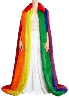 Burberry Rainbow Faux-Fur Long Cape