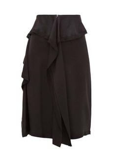 Burberry Raw-hem ruffled silk-satin skirt