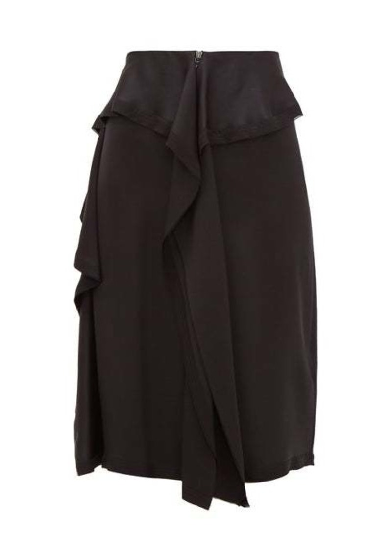 Burberry Raw-hem ruffled silk-satin skirt