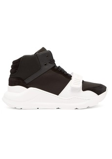 Burberry Regis suede and neoprene high-top trainers