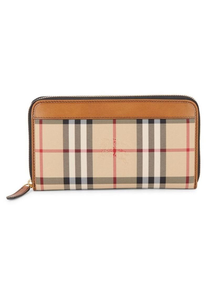 Burberry Renfrew House Check & Leather Zip-Around Wallet