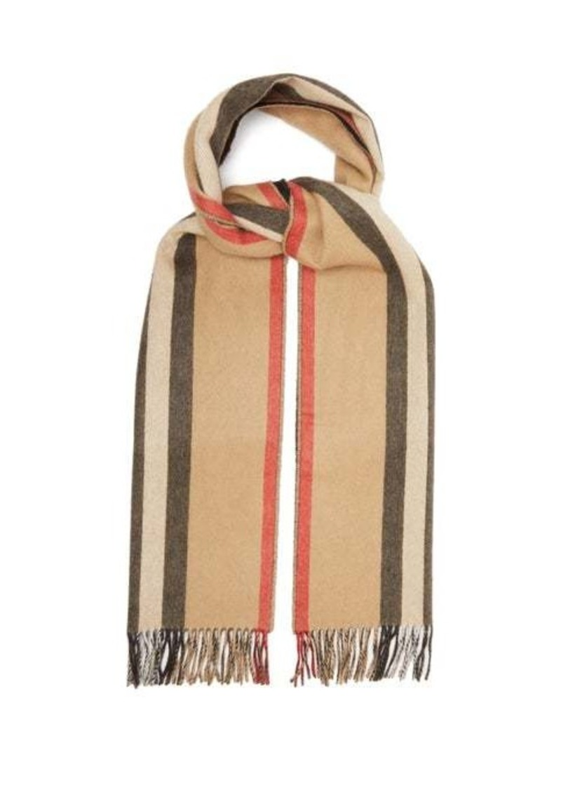 Burberry Reversible Icon-stripe cashmere scarf