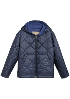 Burberry reversible quilted hooded coat - Blue