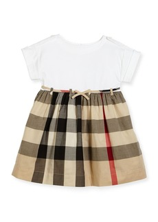 Burberry Rhonda 1 Jersey & Check Poplin Dress  Size 4-14