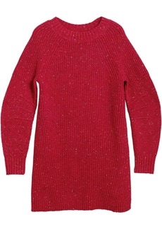 Burberry Rib Knit Wool Cashmere Mohair Sweater Dress - Red