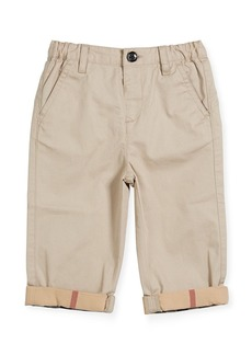 Burberry Ricky Cotton Pants w/ Check Trim