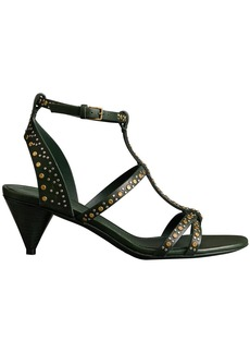 Burberry Riveted Leather Cone-heel Sandals - Green