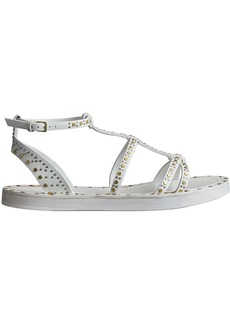 Burberry Riveted Leather Gladiator Sandals - White