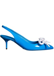 Burberry Rope Detail Patent Leather Slingback Pumps - Blue