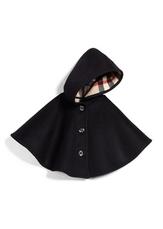 Burberry Rosa Hooded Button-Front Cape  Black  Size M-L