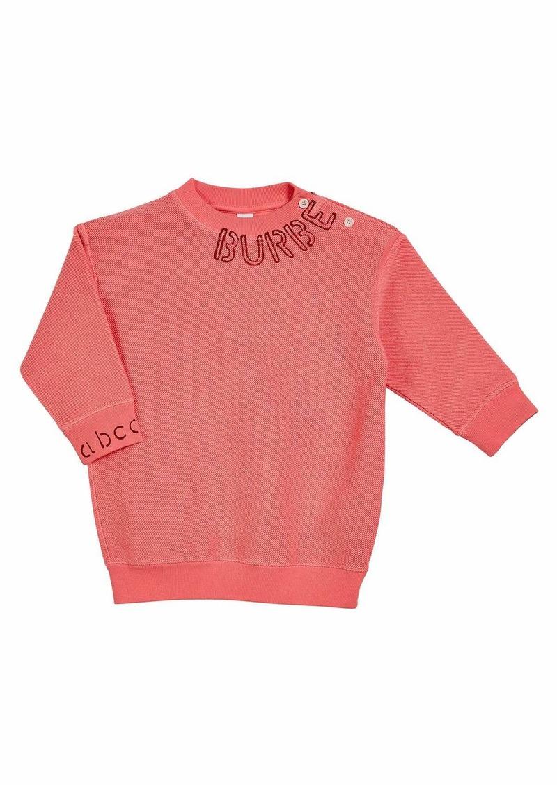 Burberry Rosalia Long-Sleeve Stencil Logo Sweater Dress  Size 6M-2
