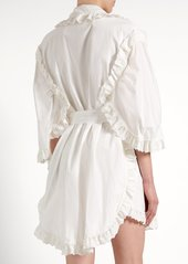 Burberry Ruffled broderie-anglaise cotton wrap dress