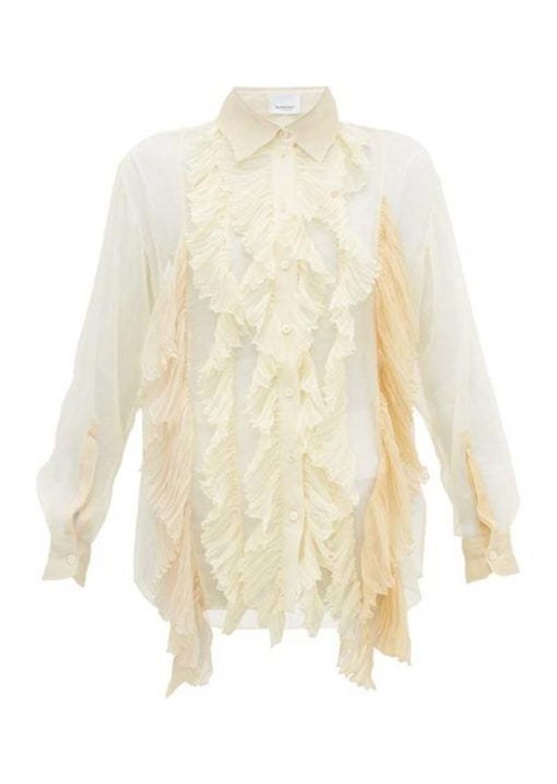 Burberry Ruffled pleated silk-crepe blouse