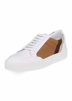 Burberry Salmond Check & Leather Sneakers