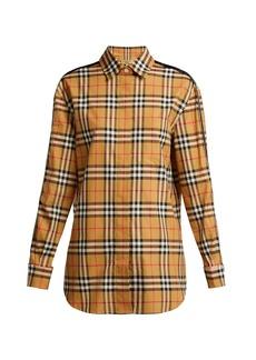 Burberry Saorise Vintage check satin-striped sleeve shirt