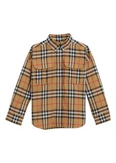 Burberry Sasha Check Collared Dress Shirt  Size 4-14