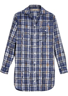 Burberry Scribble Check Silk Shirt - Blue