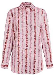 Burberry Scribble Stripe Cotton Shirt - Pink & Purple
