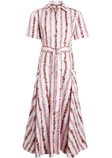 Burberry Scribble Stripe Cotton Shirt Dress - Pink & Purple