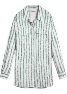 Burberry Scribble Stripe Print Silk Cotton Longline Shirt - Blue