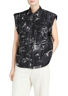 Burberry Seaport Teya Silk Printed Sleeveless Shirt