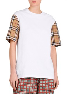 Burberry Serra Tee w/ Check Sleeves