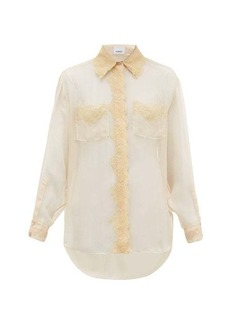 Burberry Shelly lace-trimmed mulberry-silk chiffon blouse