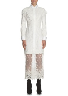 Burberry Shirting Dress with Lace Overlay